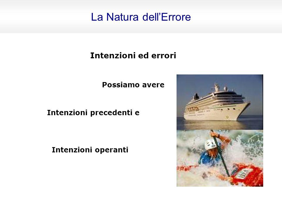 Intenzioni ed errori Possiamo avere Azioni che non rispettano le intenzioni Azioni che rispettano le intenzioni ma non raggiungono lo scopo La Natura dellErrore
