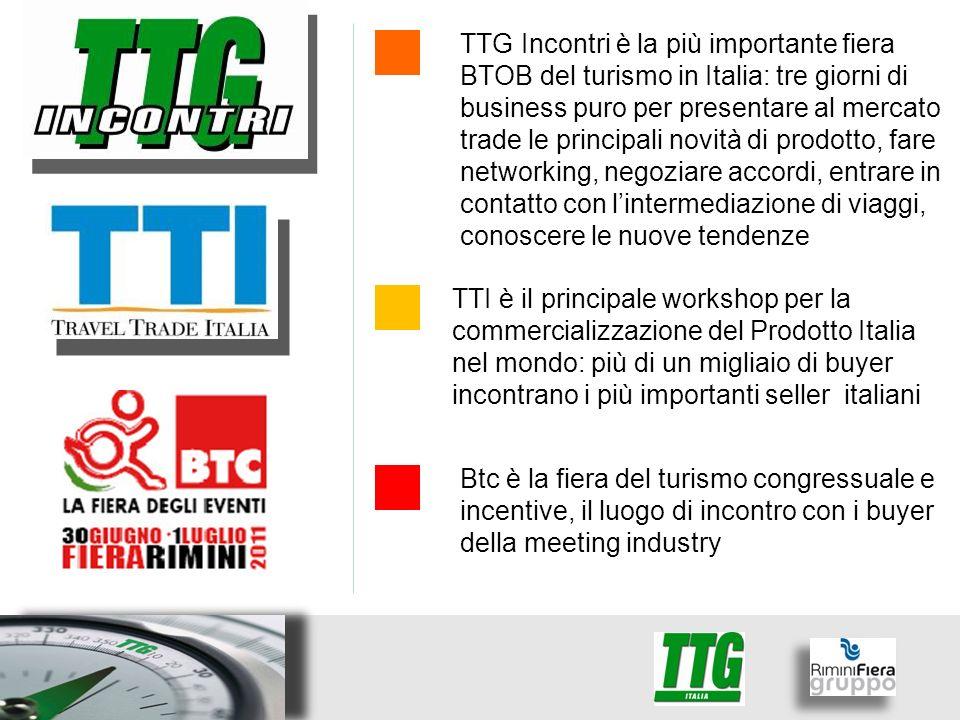 TTG Incontri è la più importante fiera BTOB del turismo in Italia: tre giorni di business puro per presentare al mercato trade le principali novità di prodotto, fare networking, negoziare accordi, entrare in contatto con lintermediazione di viaggi, conoscere le nuove tendenze TTI è il principale workshop per la commercializzazione del Prodotto Italia nel mondo: più di un migliaio di buyer incontrano i più importanti seller italiani Btc è la fiera del turismo congressuale e incentive, il luogo di incontro con i buyer della meeting industry