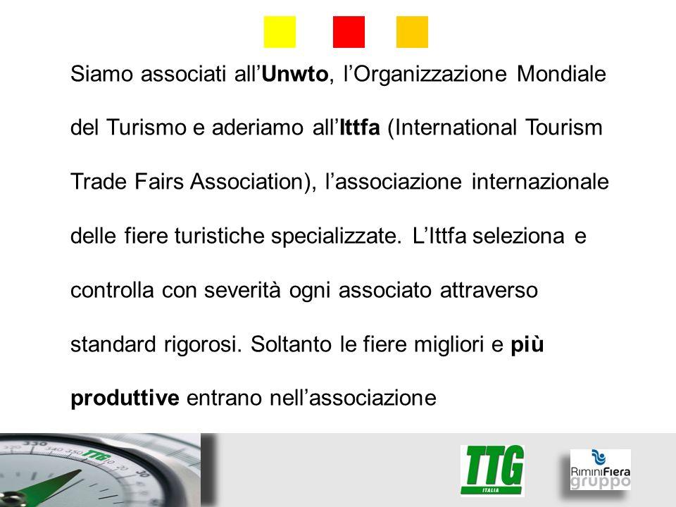 Siamo associati allUnwto, lOrganizzazione Mondiale del Turismo e aderiamo allIttfa (International Tourism Trade Fairs Association), lassociazione internazionale delle fiere turistiche specializzate.