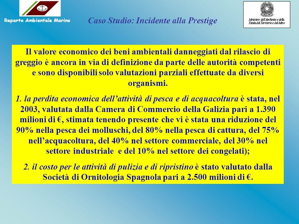 Il valore economico dei beni ambientali danneggiati dal rilascio di greggio è ancora in via di definizione da parte delle autorità competenti e sono d