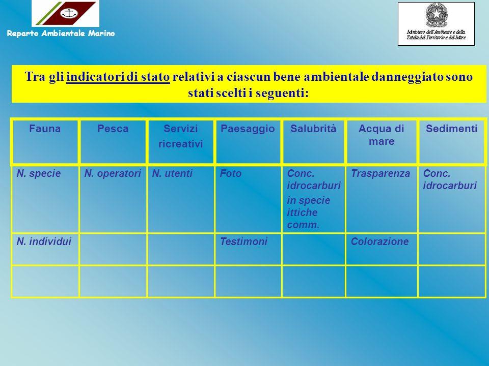 Tra gli indicatori di stato relativi a ciascun bene ambientale danneggiato sono stati scelti i seguenti: FaunaPescaServizi ricreativi PaesaggioSalubri