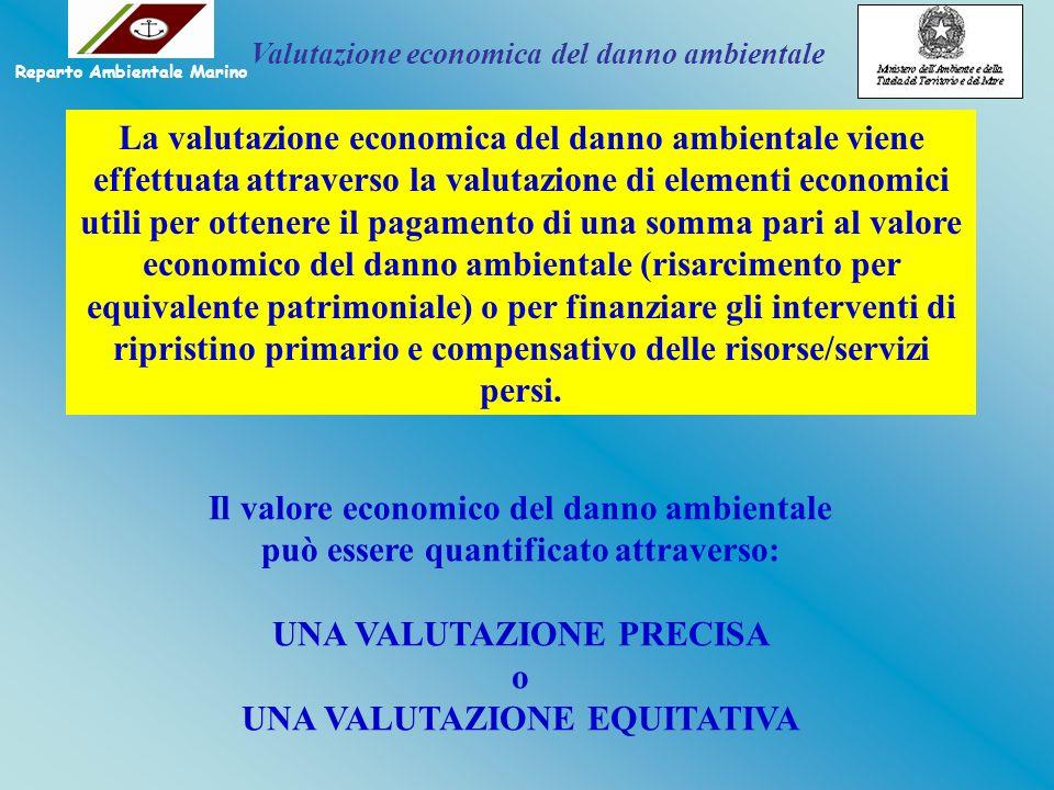 Il valore economico del danno ambientale può essere quantificato attraverso: UNA VALUTAZIONE PRECISA o UNA VALUTAZIONE EQUITATIVA La valutazione econo