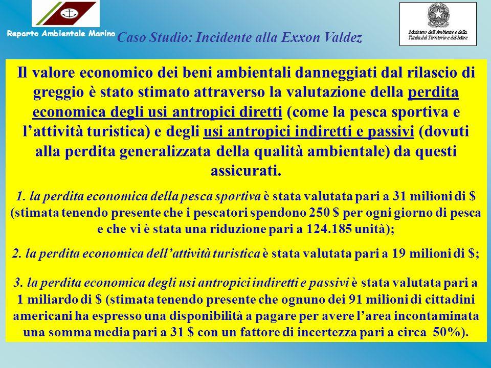 Il valore economico dei beni ambientali danneggiati dal rilascio di greggio è stato stimato attraverso la valutazione della perdita economica degli us