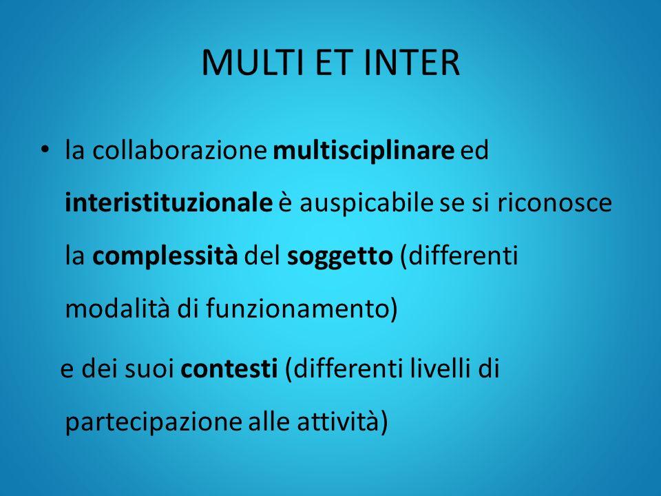 MULTI ET INTER la collaborazione multisciplinare ed interistituzionale è auspicabile se si riconosce la complessità del soggetto (differenti modalità