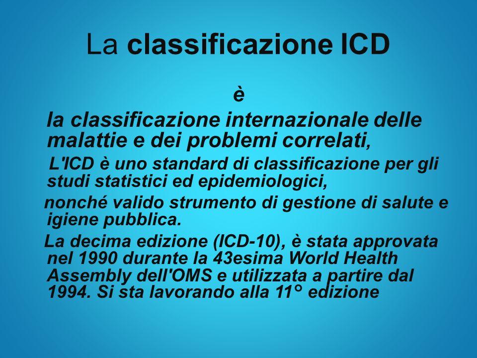 La classificazione ICD è la classificazione internazionale delle malattie e dei problemi correlati, L'ICD è uno standard di classificazione per gli st