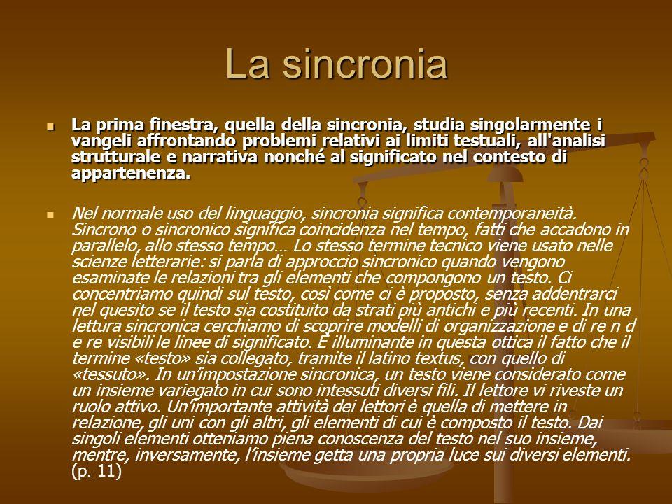 La sincronia La prima finestra, quella della sincronia, studia singolarmente i vangeli affrontando problemi relativi ai limiti testuali, all'analisi s