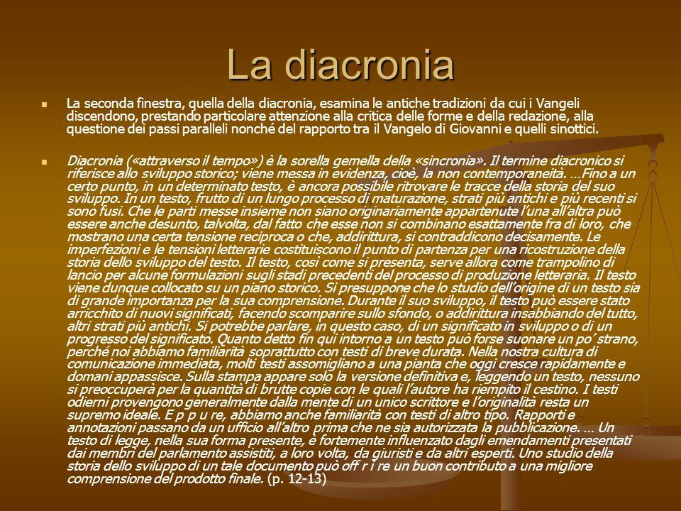 La diacronia La seconda finestra, quella della diacronia, esamina le antiche tradizioni da cui i Vangeli discendono, prestando particolare attenzione