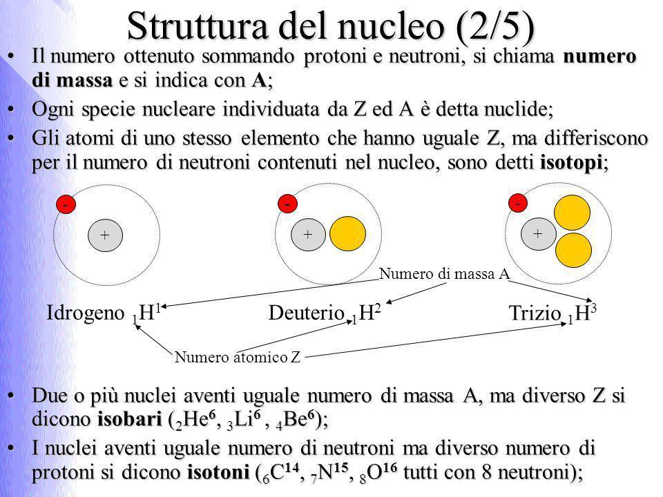 Struttura del nucleo (2/5) Il numero ottenuto sommando protoni e neutroni, si chiama numero di massa e si indica con A;Il numero ottenuto sommando pro