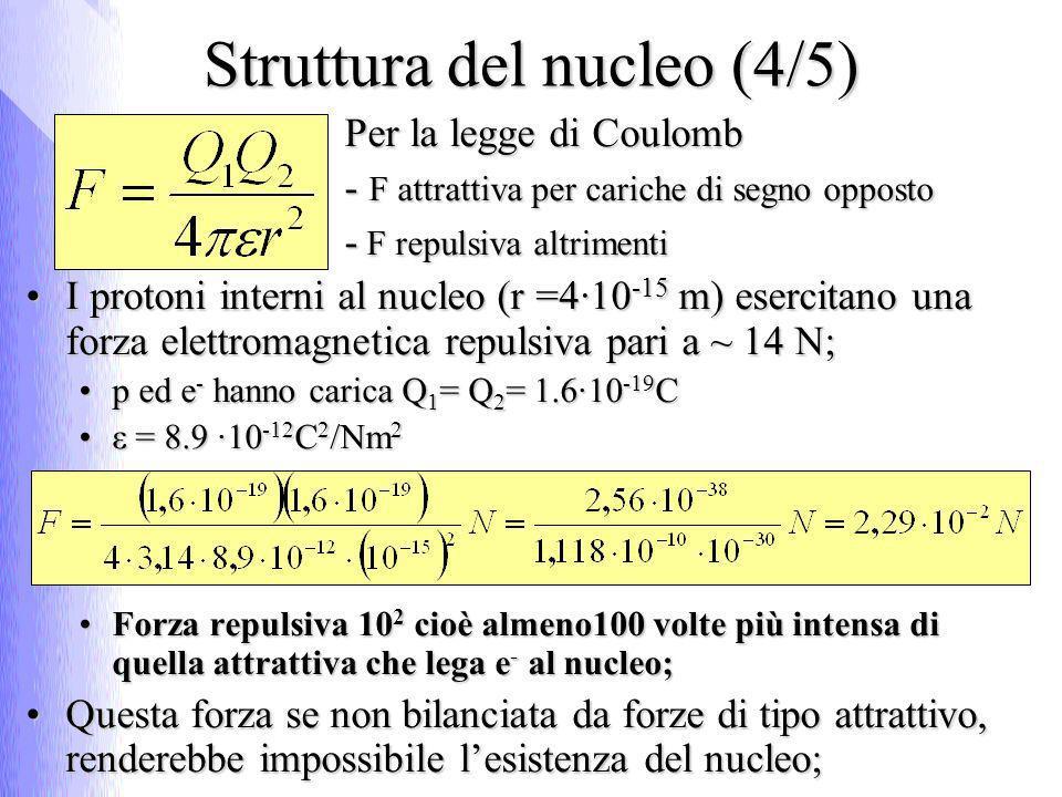 Struttura del nucleo (4/5) Per la legge di Coulomb - F attrattiva per cariche di segno opposto - F repulsiva altrimenti I protoni interni al nucleo (r