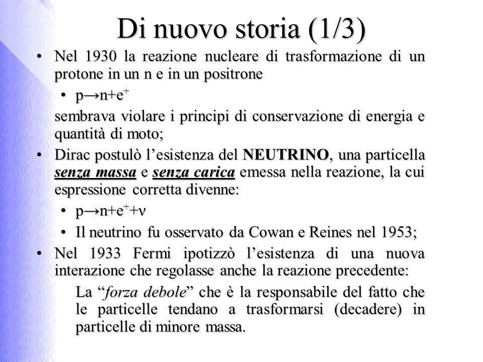 Di nuovo storia (1/3) Nel 1930 la reazione nucleare di trasformazione di un protone in un n e in un positroneNel 1930 la reazione nucleare di trasformazione di un protone in un n e in un positrone pn+e +pn+e + sembrava violare i principi di conservazione di energia e quantità di moto; Dirac postulò lesistenza del NEUTRINO, una particella senza massa e senza carica emessa nella reazione, la cui espressione corretta divenne:Dirac postulò lesistenza del NEUTRINO, una particella senza massa e senza carica emessa nella reazione, la cui espressione corretta divenne: pn+e + +νpn+e + +ν Il neutrino fu osservato da Cowan e Reines nel 1953;Il neutrino fu osservato da Cowan e Reines nel 1953; Nel 1933 Fermi ipotizzò lesistenza di una nuova interazione che regolasse anche la reazione precedente:Nel 1933 Fermi ipotizzò lesistenza di una nuova interazione che regolasse anche la reazione precedente: La forza debole che è la responsabile del fatto che le particelle tendano a trasformarsi (decadere) in particelle di minore massa.