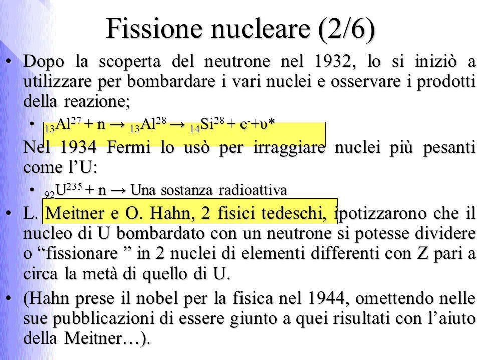 Fissione nucleare (2/6) Dopo la scoperta del neutrone nel 1932, lo si iniziò a utilizzare per bombardare i vari nuclei e osservare i prodotti della reazione;Dopo la scoperta del neutrone nel 1932, lo si iniziò a utilizzare per bombardare i vari nuclei e osservare i prodotti della reazione; 13 Al 27 + n 13 Al 28 14 Si 28 + e - +υ* 13 Al 27 + n 13 Al 28 14 Si 28 + e - +υ* Nel 1934 Fermi lo usò per irraggiare nuclei più pesanti come lU: 92 U 235 + n Una sostanza radioattiva 92 U 235 + n Una sostanza radioattiva L.
