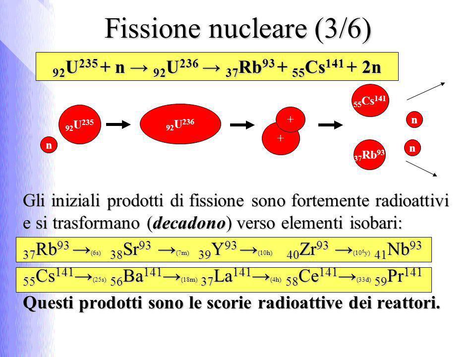 92 U 235 + n 92 U 236 37 Rb 93 + 55 Cs 141 + 2n Gli iniziali prodotti di fissione sono fortemente radioattivi e si trasformano (decadono) verso elementi isobari: 37 Rb 93 (6s) 38 Sr 93 (7m) 39 Y 93 (10h) 40 Zr 93 (10 6 y) 41 Nb 93 55 Cs 141 (25s) 56 Ba 141 (18m) 37 La 141 (4h) 58 Ce 141 (33d) 59 Pr 141 Questi prodotti sono le scorie radioattive dei reattori.