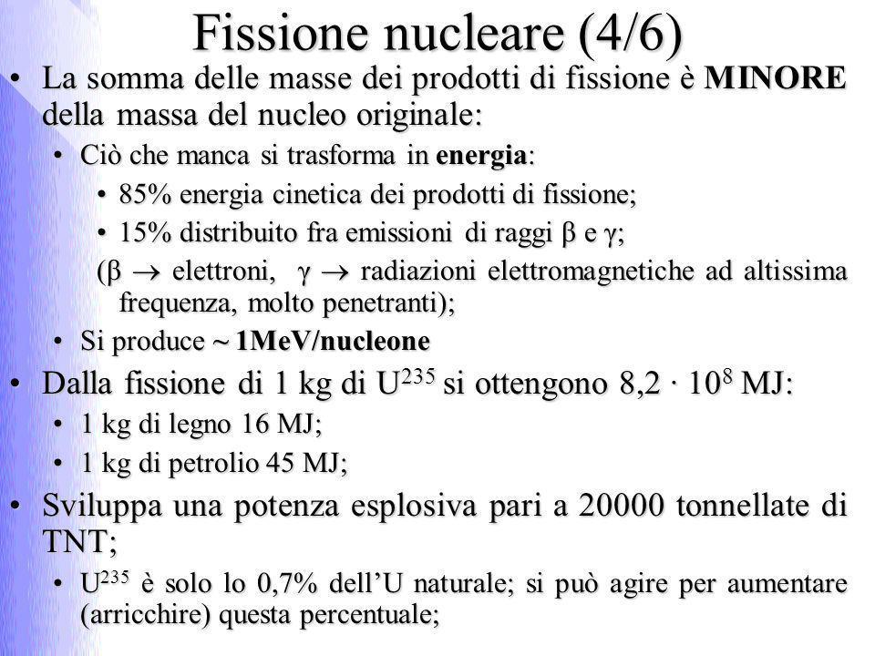 Fissione nucleare (4/6) La somma delle masse dei prodotti di fissione è MINORE della massa del nucleo originale:La somma delle masse dei prodotti di f