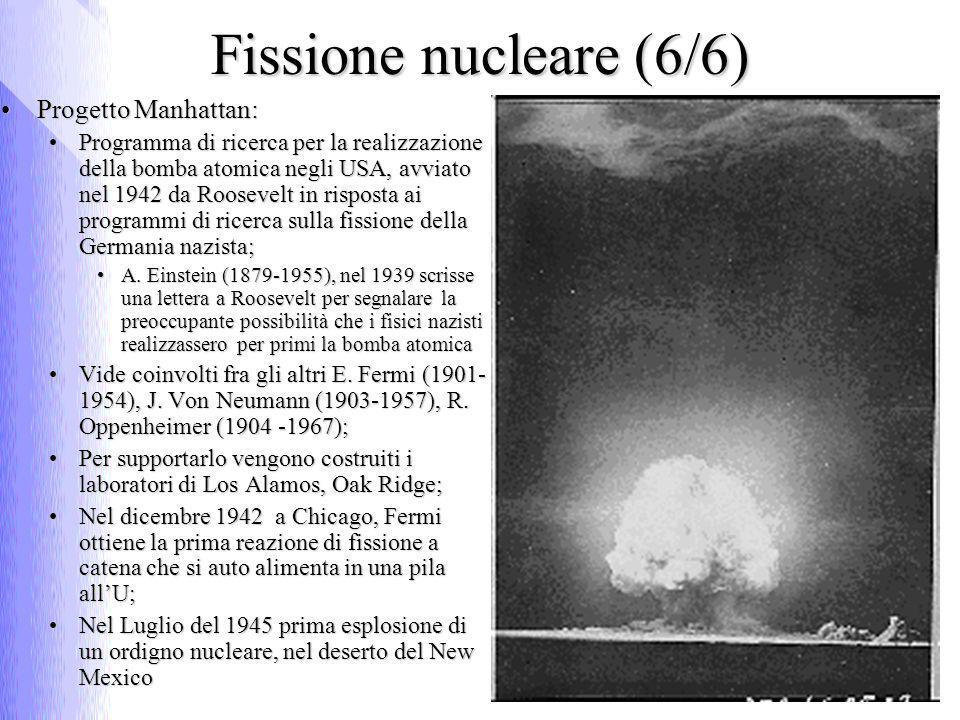 Fissione nucleare (6/6) Progetto Manhattan:Progetto Manhattan: Programma di ricerca per la realizzazione della bomba atomica negli USA, avviato nel 19