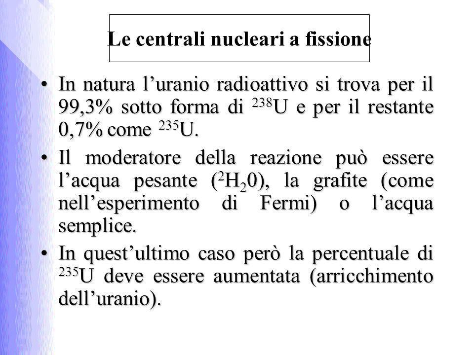 In natura luranio radioattivo si trova per il 99,3% sotto forma di 238 U e per il restante 0,7% come 235 U.In natura luranio radioattivo si trova per