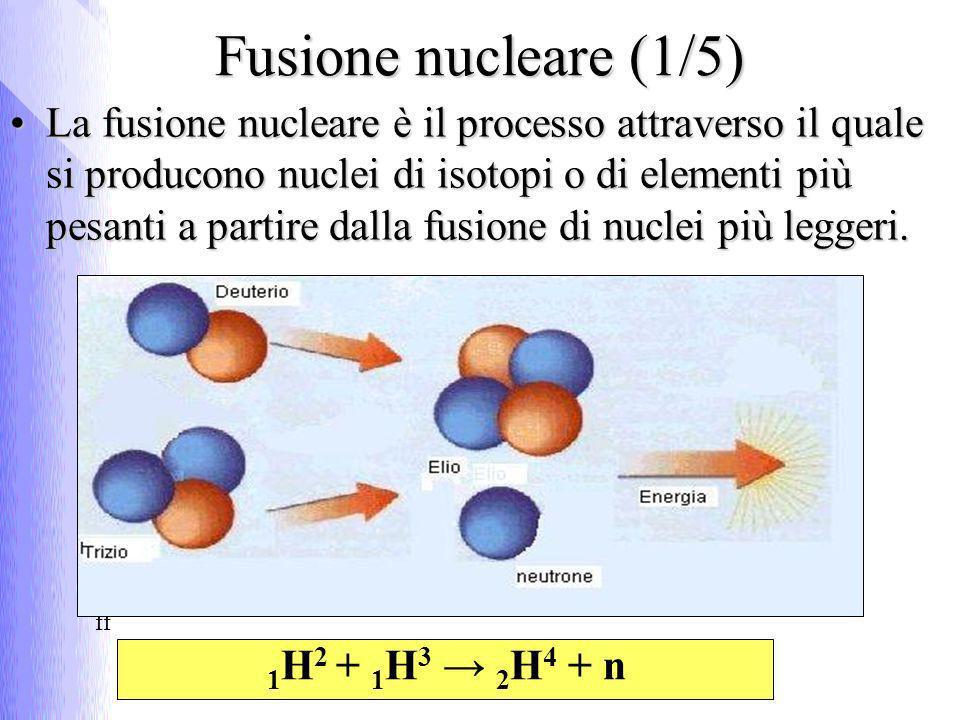 Fusione nucleare (1/5) La fusione nucleare è il processo attraverso il quale si producono nuclei di isotopi o di elementi più pesanti a partire dalla fusione di nuclei più leggeri.La fusione nucleare è il processo attraverso il quale si producono nuclei di isotopi o di elementi più pesanti a partire dalla fusione di nuclei più leggeri.