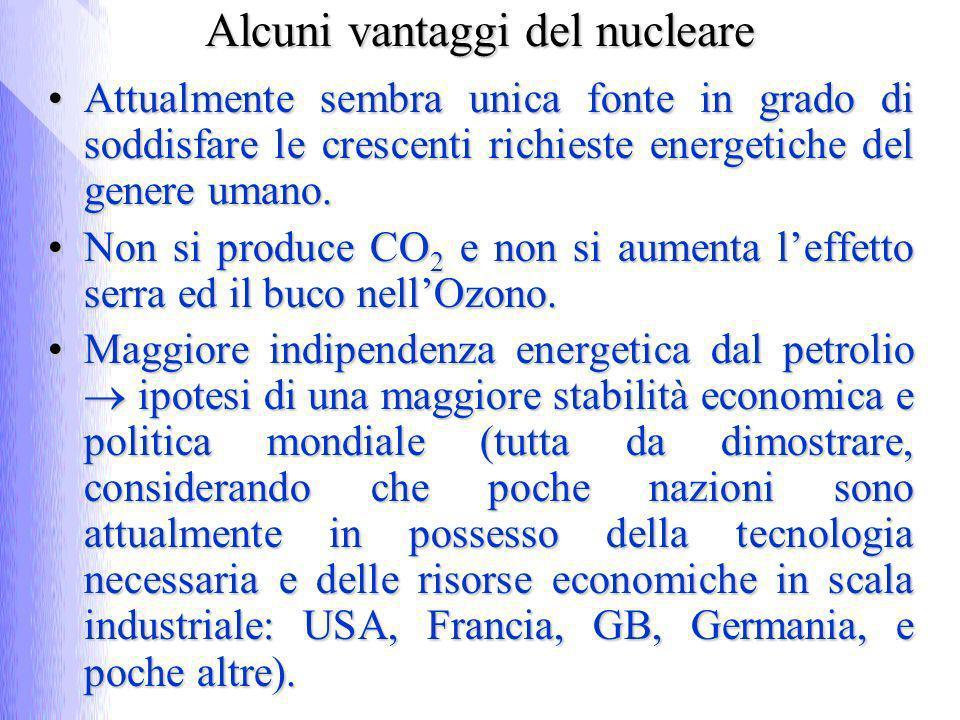 Alcuni vantaggi del nucleare Attualmente sembra unica fonte in grado di soddisfare le crescenti richieste energetiche del genere umano.Attualmente sem