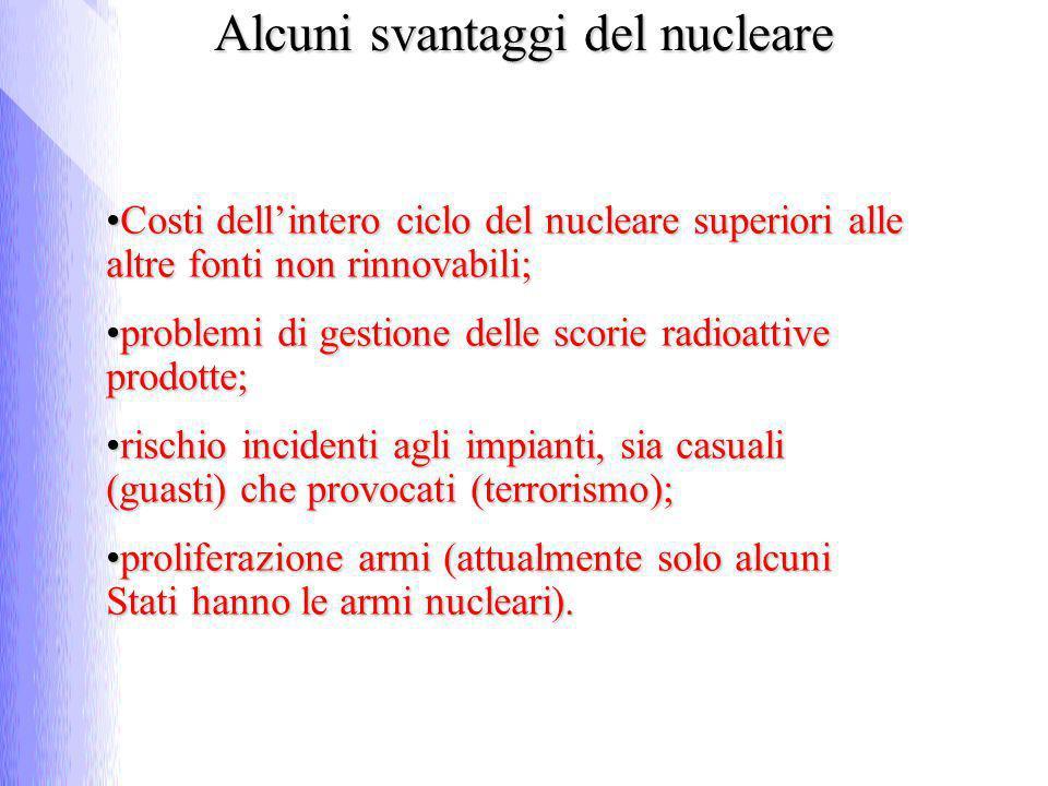 Costi dellintero ciclo del nucleare superiori alle altre fonti non rinnovabili;Costi dellintero ciclo del nucleare superiori alle altre fonti non rinn