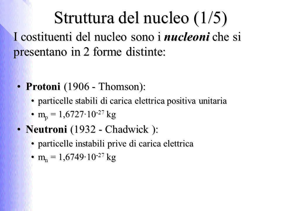 Struttura del nucleo (1/5) I costituenti del nucleo sono i nucleoni che si presentano in 2 forme distinte: Protoni (1906 - Thomson):Protoni (1906 - Th