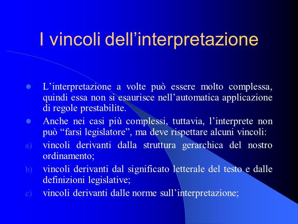 I vincoli dellinterpretazione Linterpretazione a volte può essere molto complessa, quindi essa non si esaurisce nellautomatica applicazione di regole