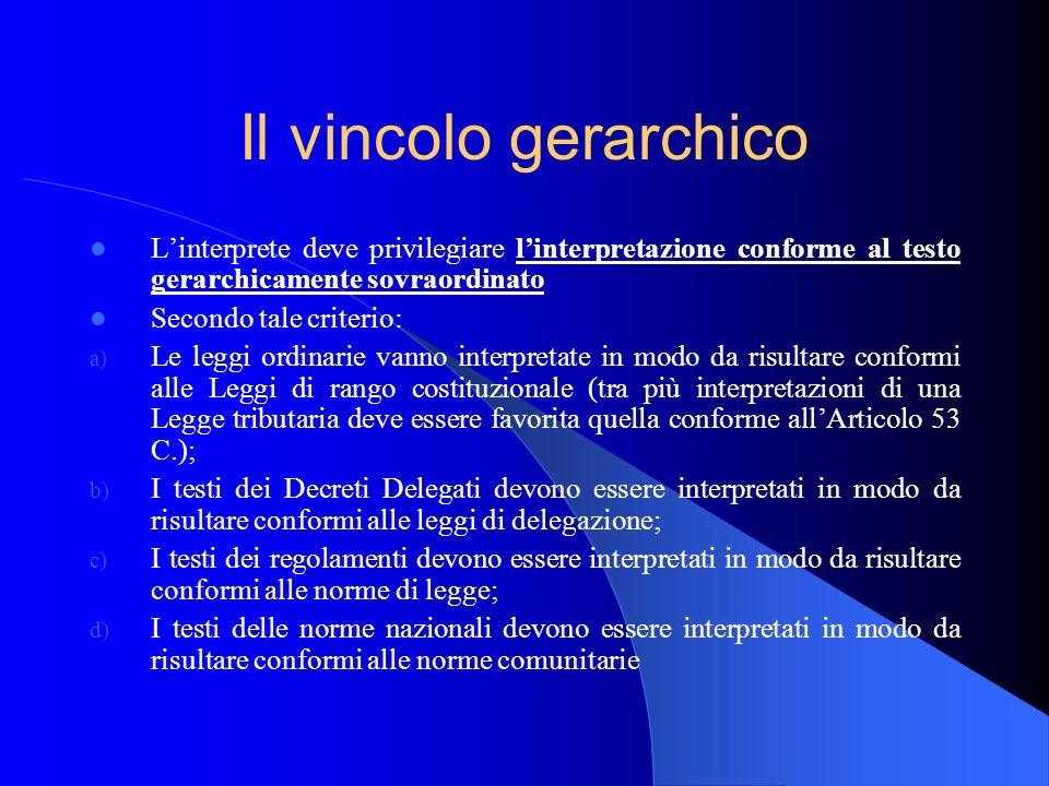 Il vincolo gerarchico Linterprete deve privilegiare linterpretazione conforme al testo gerarchicamente sovraordinato Secondo tale criterio: a) Le legg