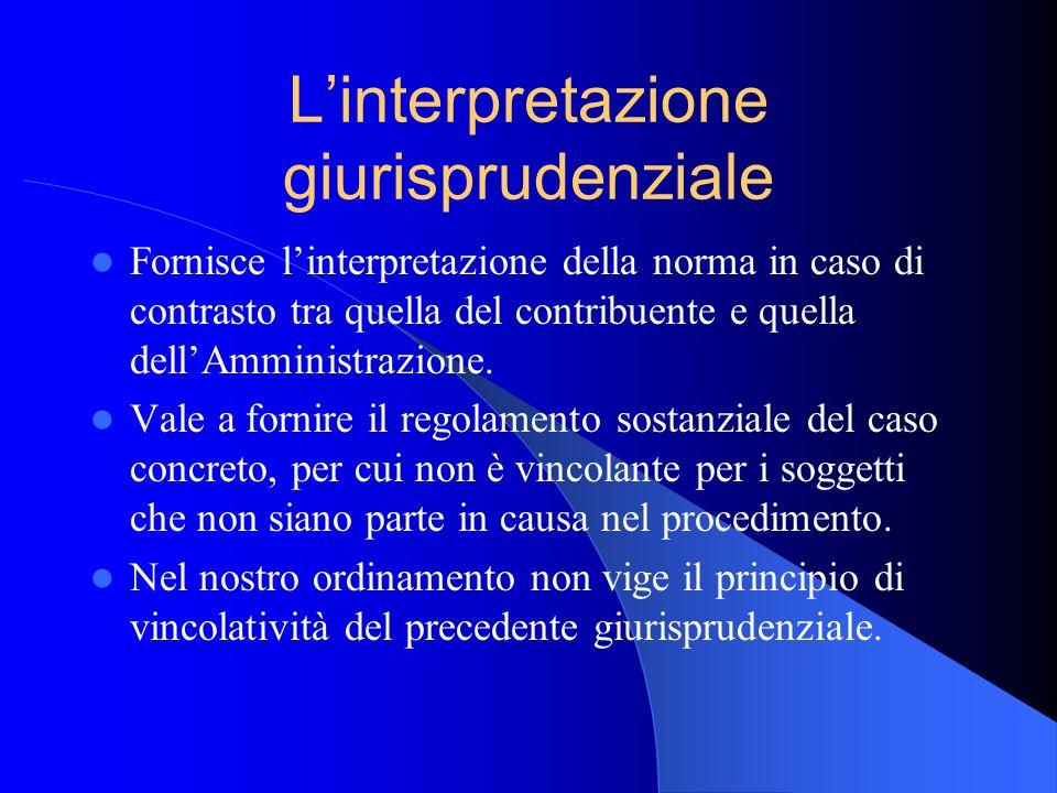 Linterpretazione giurisprudenziale Fornisce linterpretazione della norma in caso di contrasto tra quella del contribuente e quella dellAmministrazione