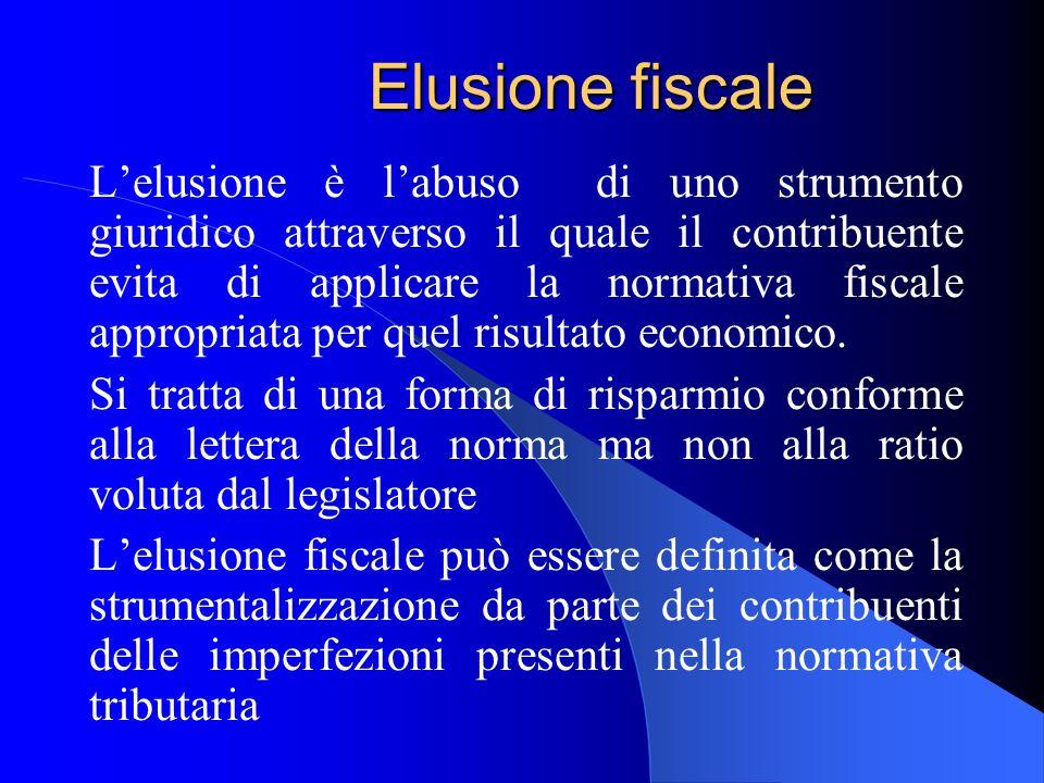 Elusione fiscale Lelusione è labuso di uno strumento giuridico attraverso il quale il contribuente evita di applicare la normativa fiscale appropriata