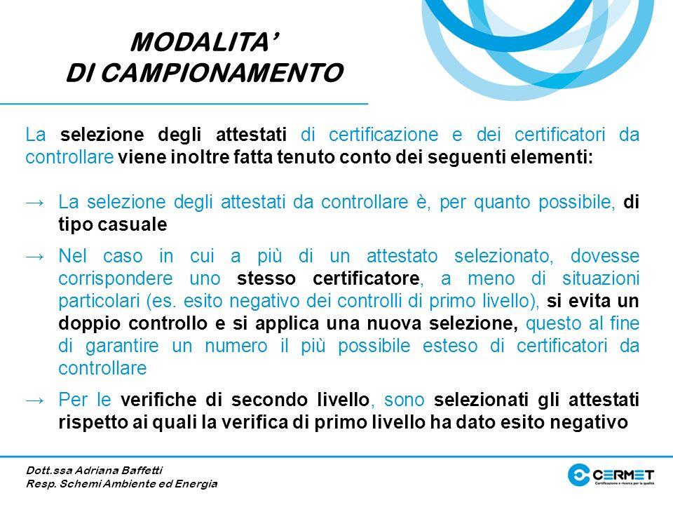MODALITA DI CAMPIONAMENTO La selezione degli attestati di certificazione e dei certificatori da controllare viene inoltre fatta tenuto conto dei segue