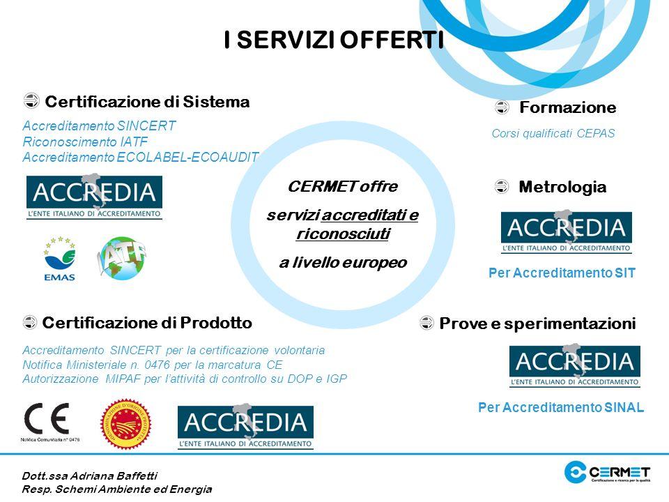 CERMET offre servizi accreditati e riconosciuti a livello europeo Accreditamento SINCERT Riconoscimento IATF Accreditamento ECOLABEL-ECOAUDIT Accredit