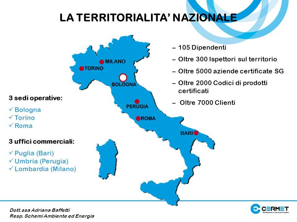 3 sedi operative: Bologna Torino Roma 3 uffici commerciali: Puglia (Bari) Umbria (Perugia) Lombardia (Milano) LA TERRITORIALITA NAZIONALE Dott.ssa Adr