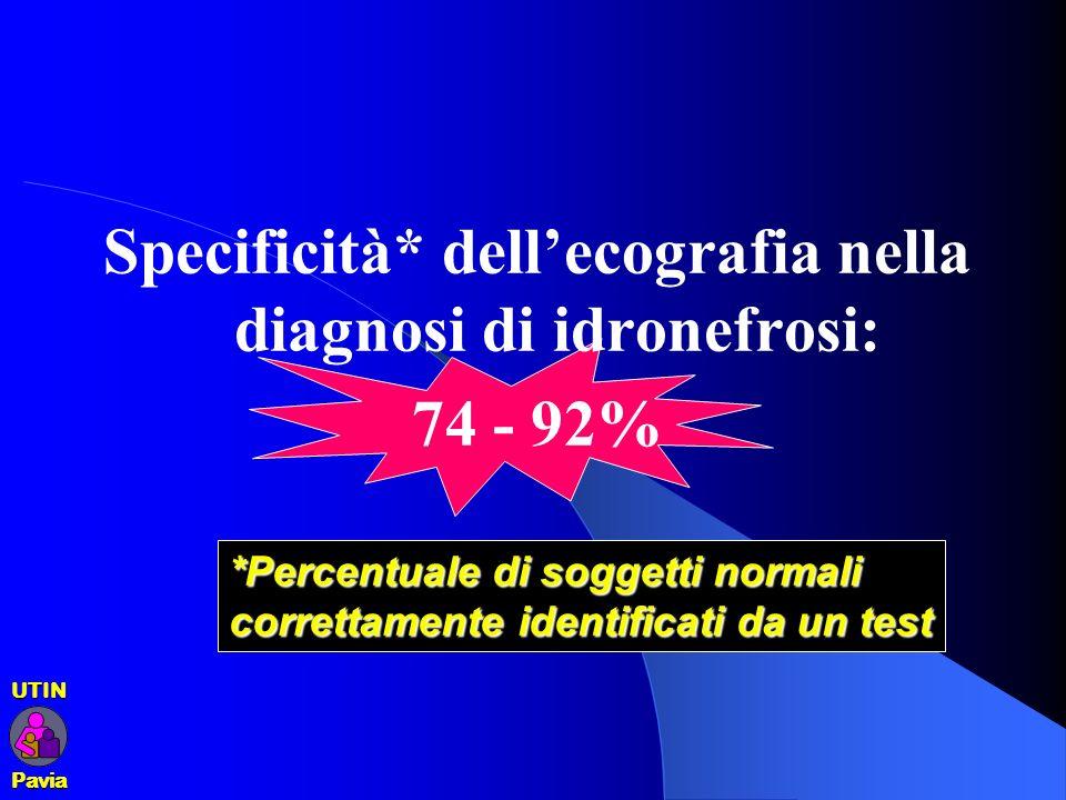 Specificità* dellecografia nella diagnosi di idronefrosi: 74 - 92% *Percentuale di soggetti normali correttamente identificati da un test UTINPavia