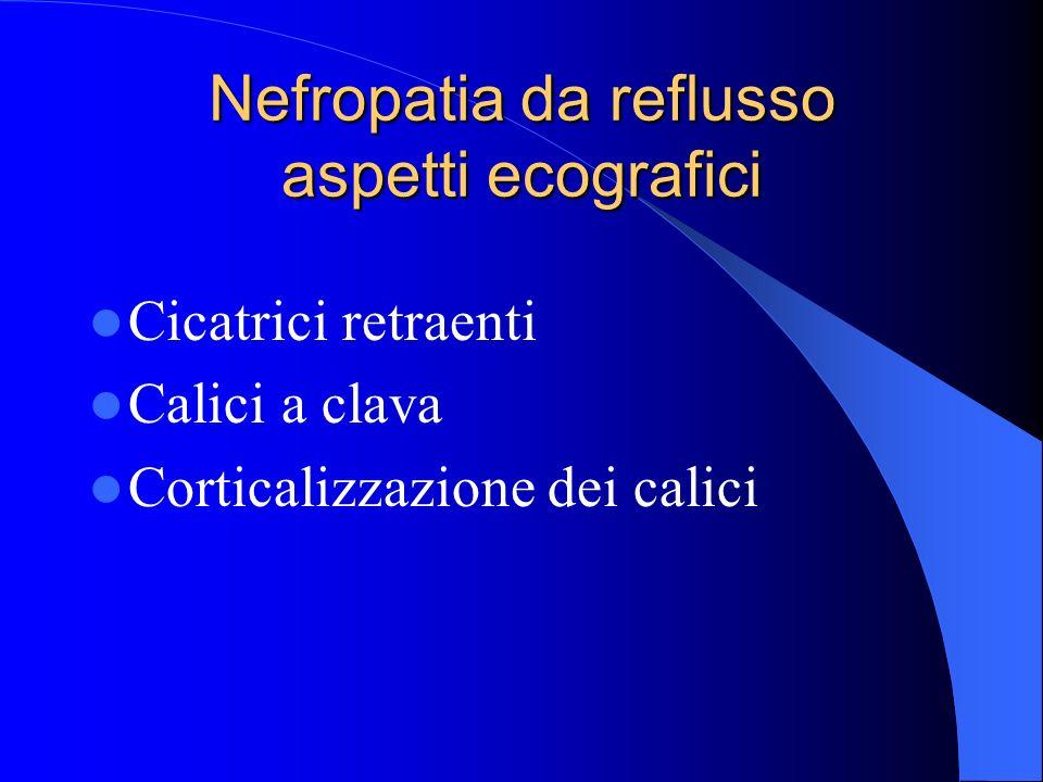 Nefropatia da reflusso aspetti ecografici Cicatrici retraenti Calici a clava Corticalizzazione dei calici