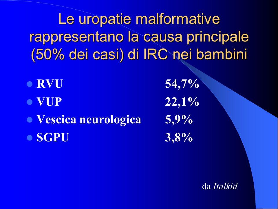 Sensibilità* dellecografia nella diagnosi di idronefrosi: 87 - 100% *Percentuale di soggetti patologici correttamente identificati da un test UTINPavia