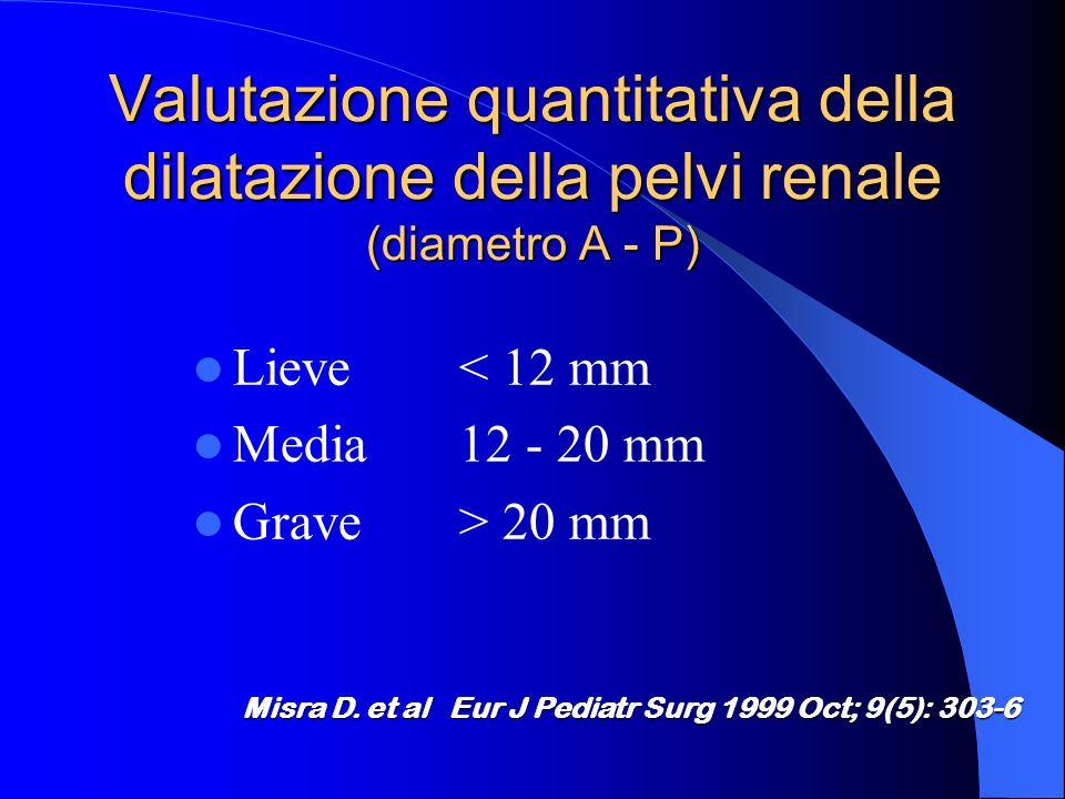 Valutazione quantitativa della dilatazione della pelvi renale (diametro A - P) Lieve< 12 mm Media12 - 20 mm Grave> 20 mm Misra D.