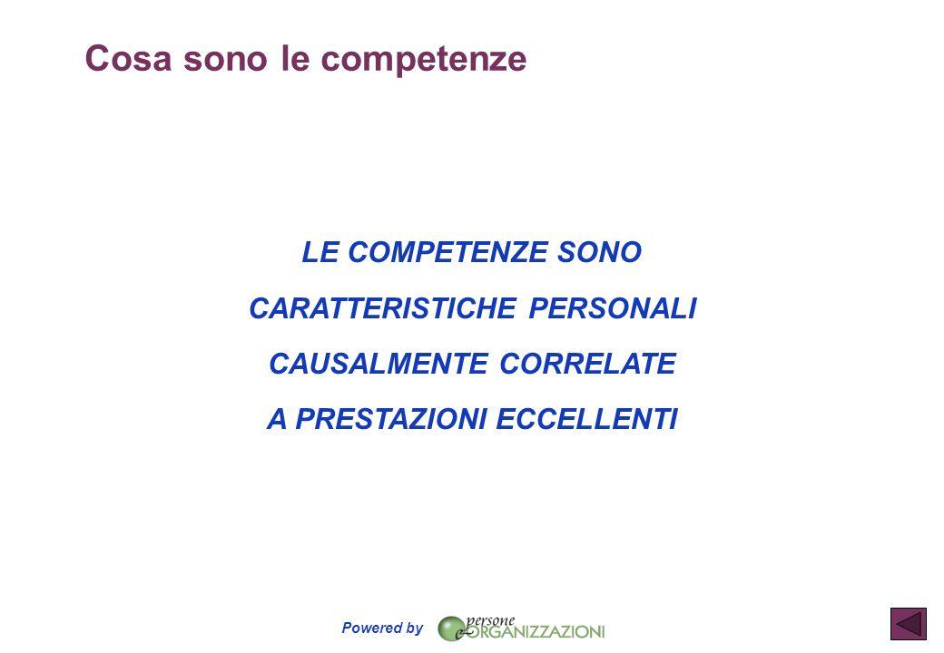 Powered by Cosa sono le competenze LE COMPETENZE SONO CARATTERISTICHE PERSONALI CAUSALMENTE CORRELATE A PRESTAZIONI ECCELLENTI