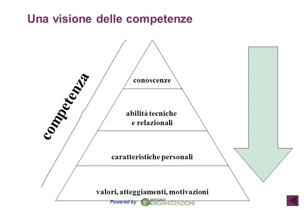 Powered by conoscenze abilità tecniche e relazionali caratteristiche personali valori, atteggiamenti, motivazioni competenza Una visione delle compete