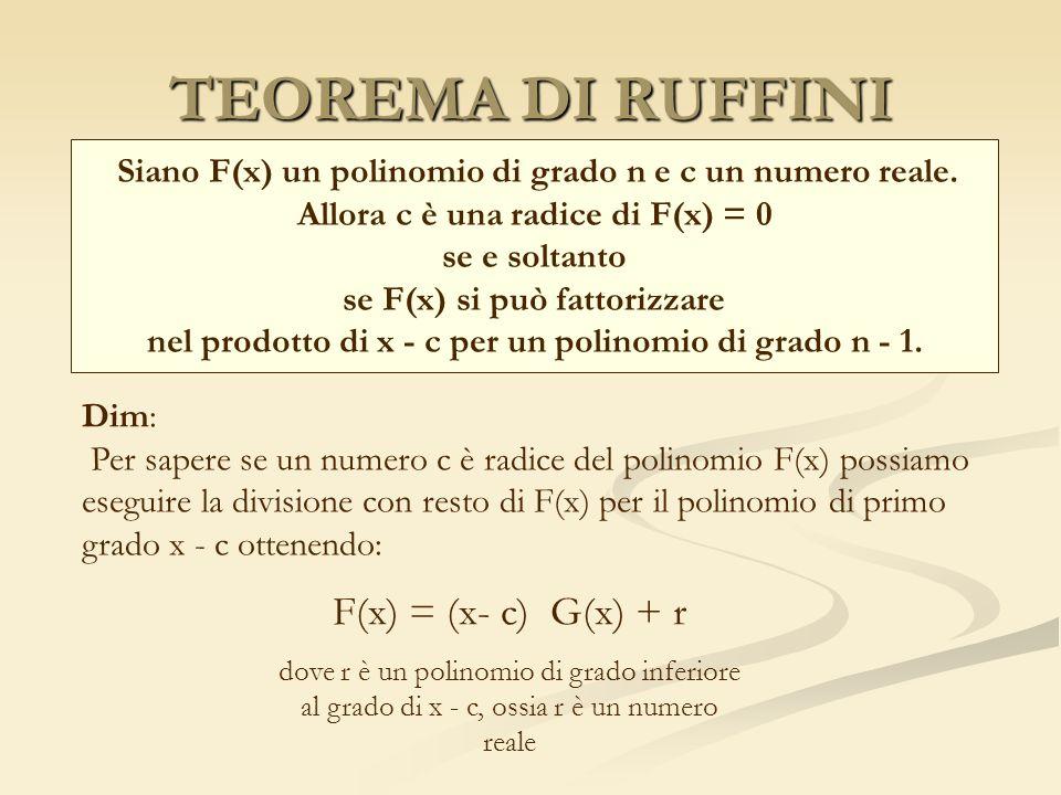 TEOREMA DI RUFFINI Siano F(x) un polinomio di grado n e c un numero reale. Allora c è una radice di F(x) = 0 se e soltanto se F(x) si può fattorizzare
