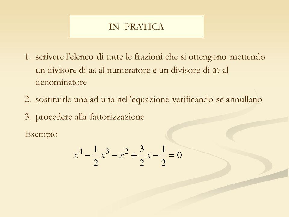 IN PRATICA 1.scrivere l'elenco di tutte le frazioni che si ottengono mettendo un divisore di a n al numeratore e un divisore di a 0 al denominatore 2.
