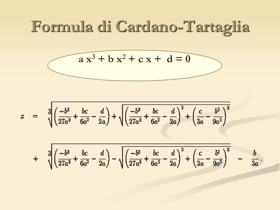 Formula di Cardano-Tartaglia a x 3 + b x 2 + c x + d = 0