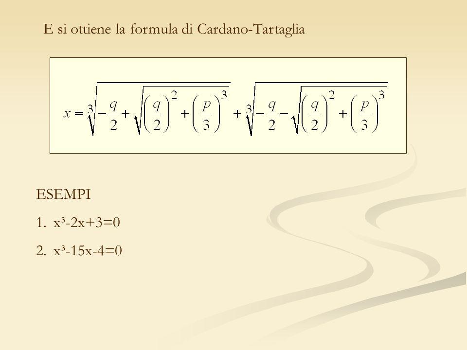 ESEMPI 1.x³-2x+3=0 2.x³-15x-4=0 E si ottiene la formula di Cardano-Tartaglia
