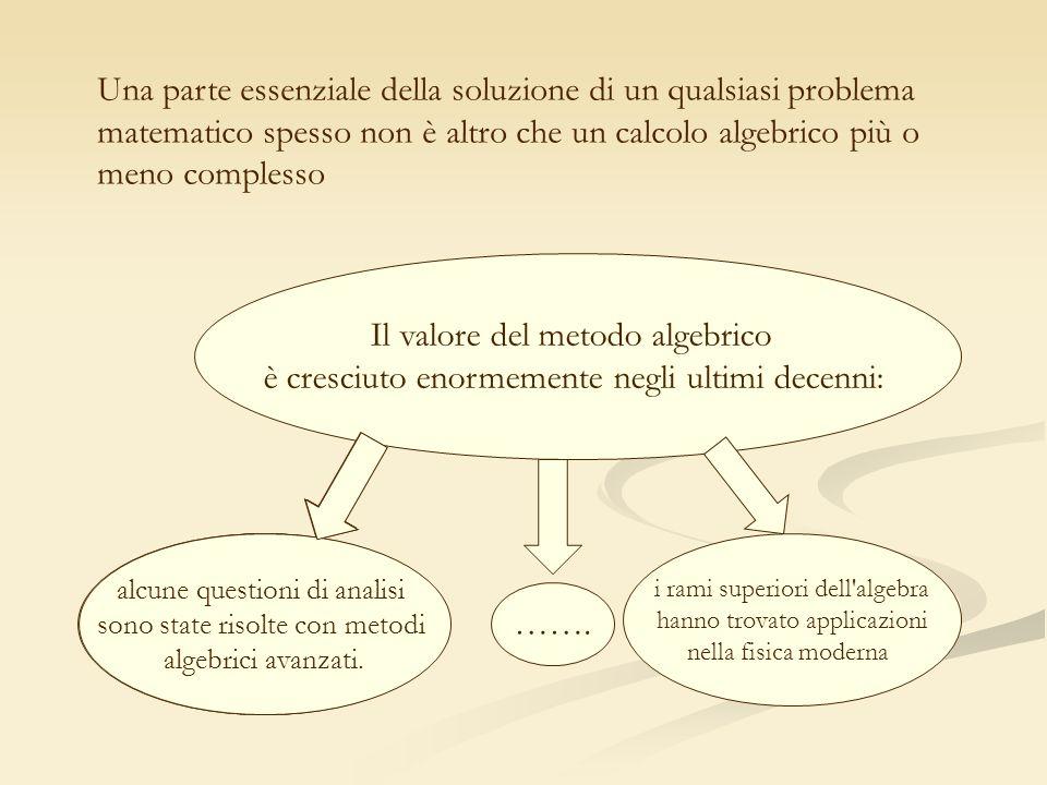 Una parte essenziale della soluzione di un qualsiasi problema matematico spesso non è altro che un calcolo algebrico più o meno complesso Il valore de