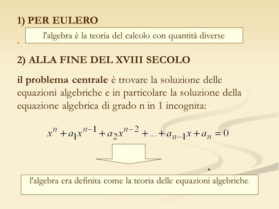 1)PER EULERO. 2) ALLA FINE DEL XVIII SECOLO il problema centrale è trovare la soluzione delle equazioni algebriche e in particolare la soluzione della