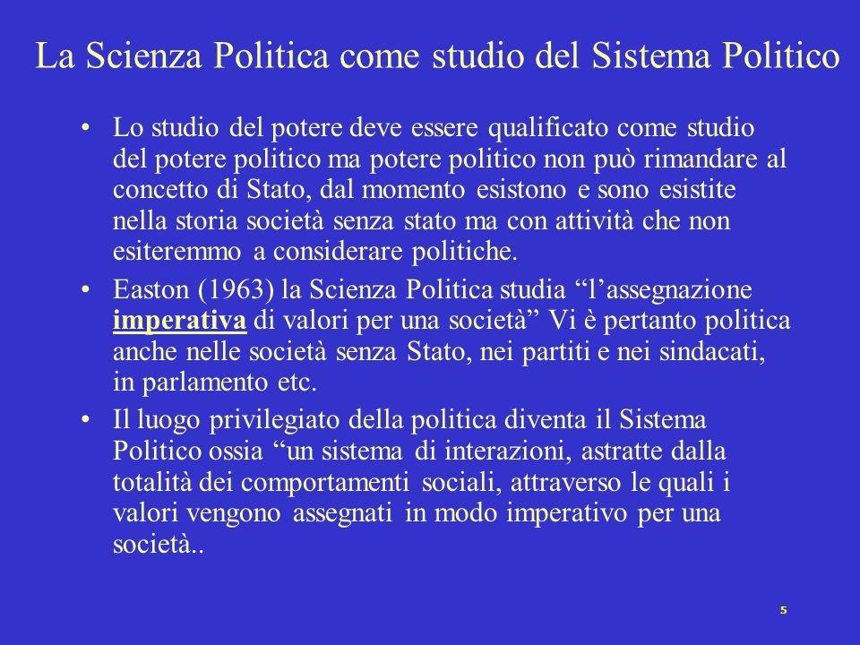 4 La Scienza Politica come studio delle élites Una volta consolidatesi le formazioni statuali, gli studiosi continentali (Mosca, Pareto Michels ) rivo