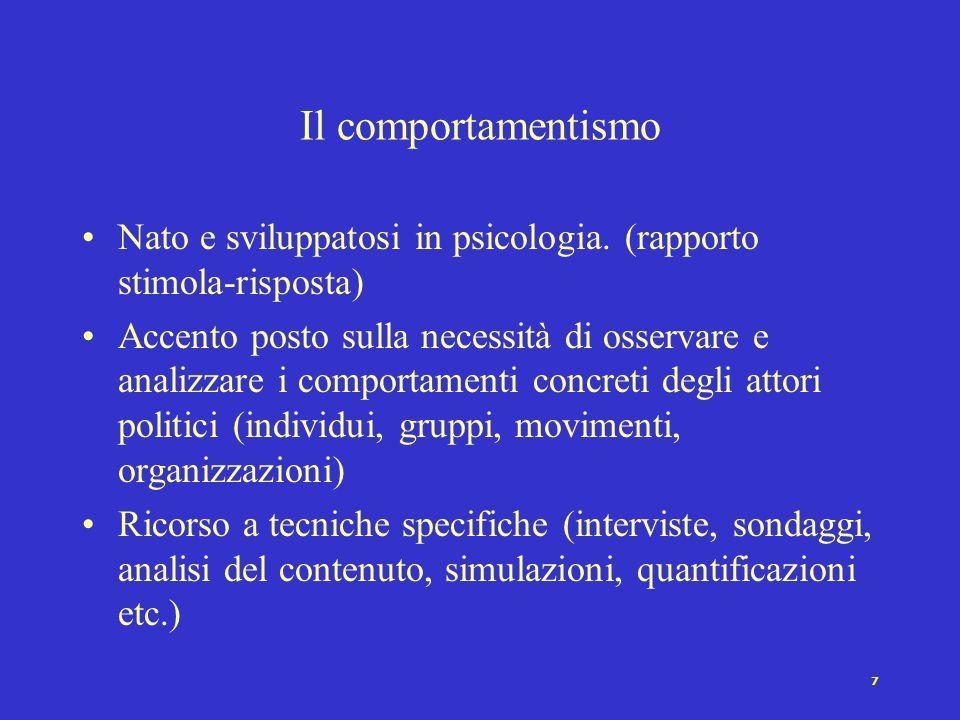 7 Il comportamentismo Nato e sviluppatosi in psicologia.