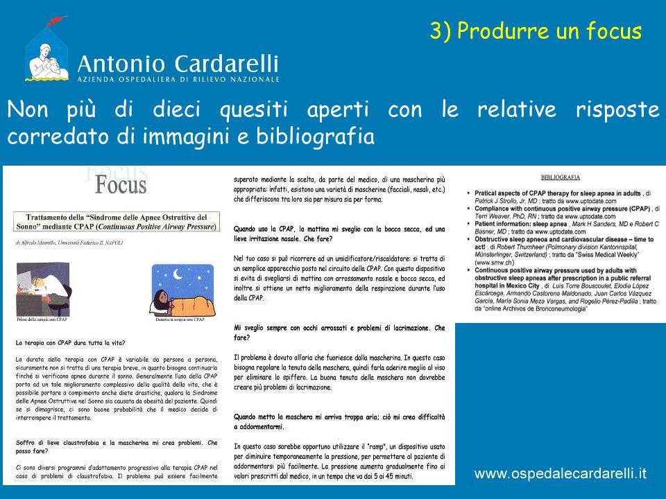 3) Produrre un focus Non più di dieci quesiti aperti con le relative risposte corredato di immagini e bibliografia