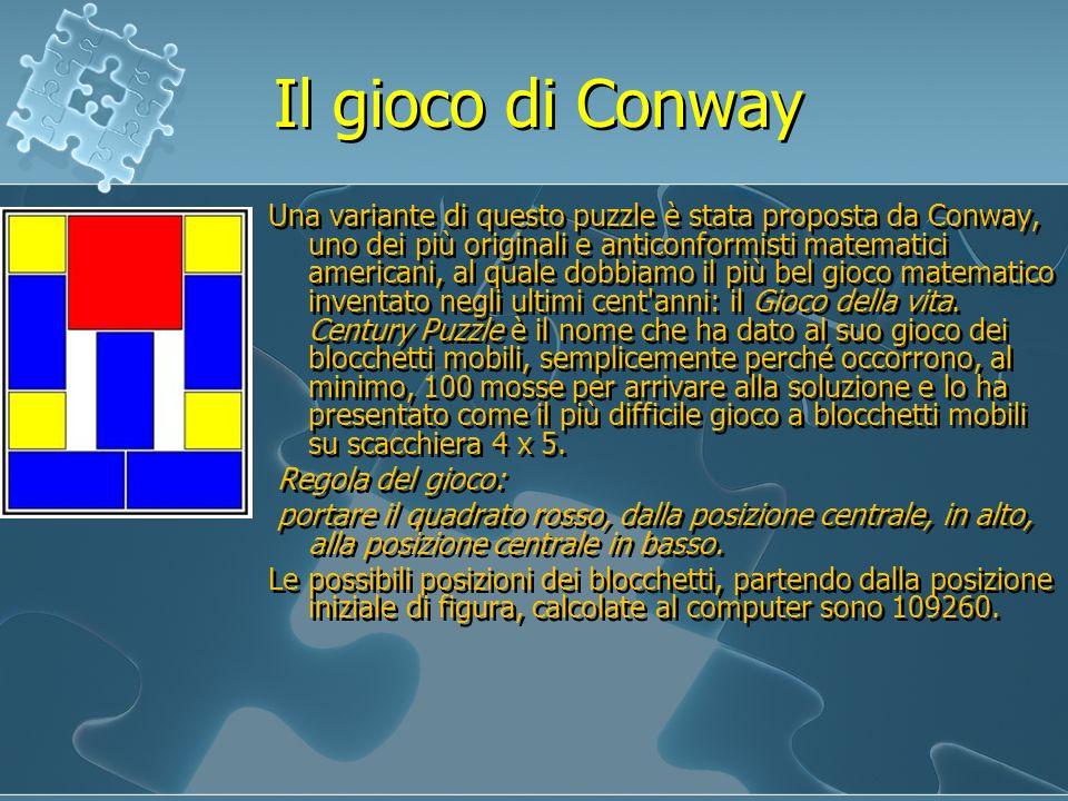 Il gioco di Conway Una variante di questo puzzle è stata proposta da Conway, uno dei più originali e anticonformisti matematici americani, al quale do