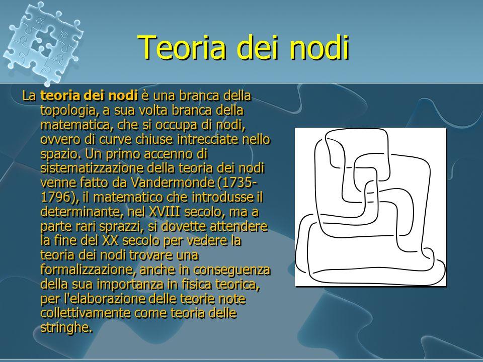 Teoria dei nodi La teoria dei nodi è una branca della topologia, a sua volta branca della matematica, che si occupa di nodi, ovvero di curve chiuse in
