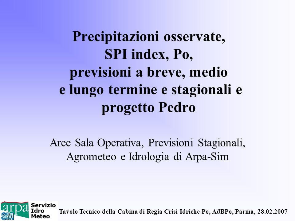 Tavolo Tecnico della Cabina di Regia Crisi Idriche Po, AdBPo, Parma, 28.02.2007 Precipitazioni osservate, SPI index, Po, previsioni a breve, medio e l