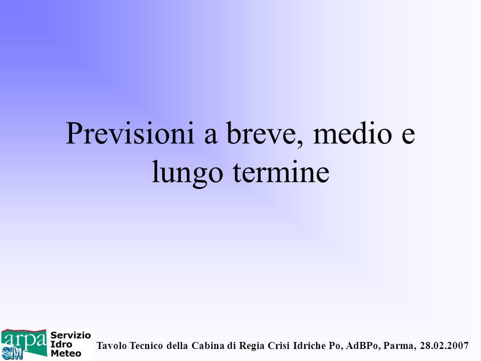 Tavolo Tecnico della Cabina di Regia Crisi Idriche Po, AdBPo, Parma, 28.02.2007 Previsioni a breve, medio e lungo termine