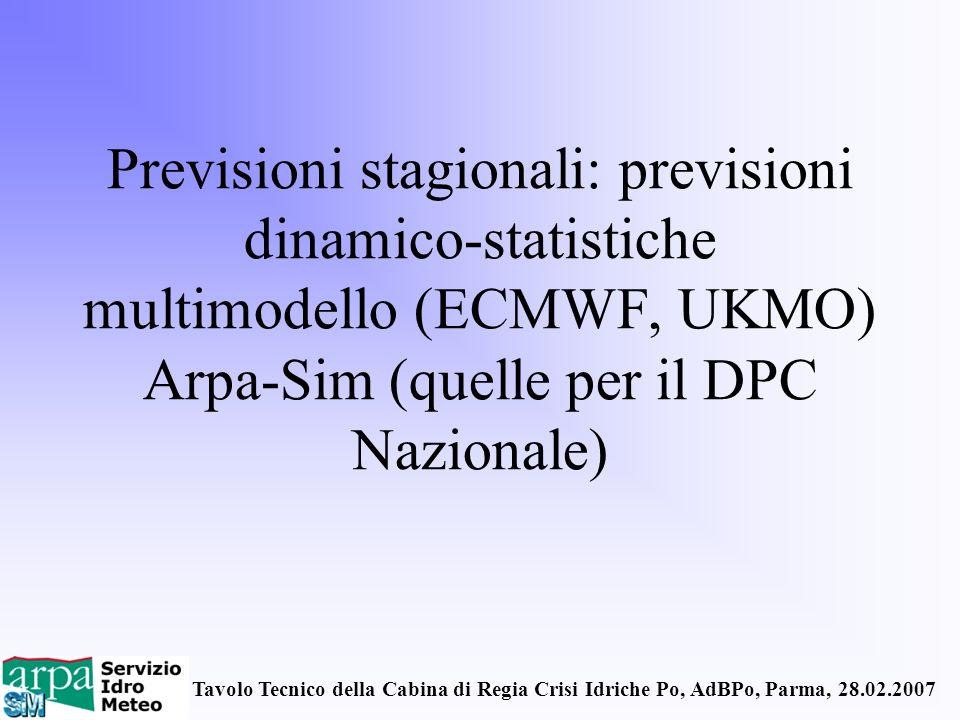 Tavolo Tecnico della Cabina di Regia Crisi Idriche Po, AdBPo, Parma, 28.02.2007 Previsioni stagionali: previsioni dinamico-statistiche multimodello (E